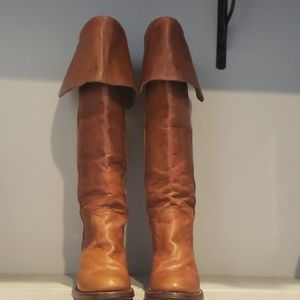 Frye vintage tall brown leather boots